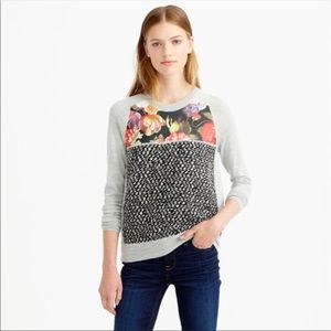J. Crew Gray & Black Wool Floral Crewneck Sweater